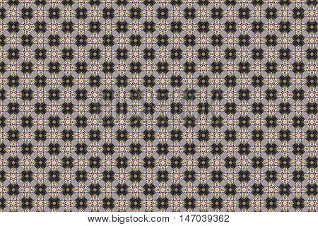 intricate pattern with floral design elements on checkered background