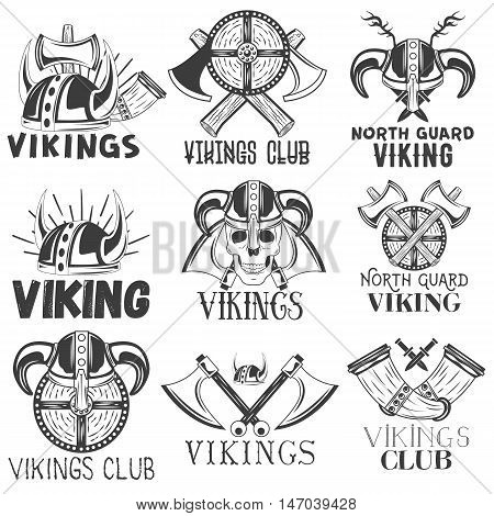 Vector set of vikings labels in vintage style. Design elements, icons, logo, emblems and badges isolated on white background. Viking warrior helmet and axe