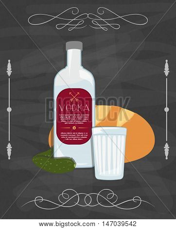 Russian traditional food, bottle of vodka, bread and pickled cucumbers. Vector still life poster.