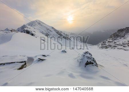 beautiful sunrise in the Fagaras Mountains Romania