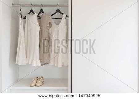 Earth Tone Color Dress Hanging On Rail In White Wardrobe With Vintage Shoes
