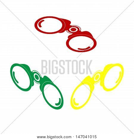 Binocular Sign Illustration. Isometric Style Of Red, Green And Yellow Icon.