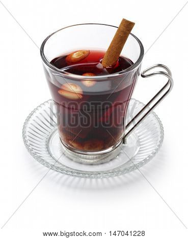 glogg, scandinavian mulled wine, traditional christmas hot beverage isolated on white background