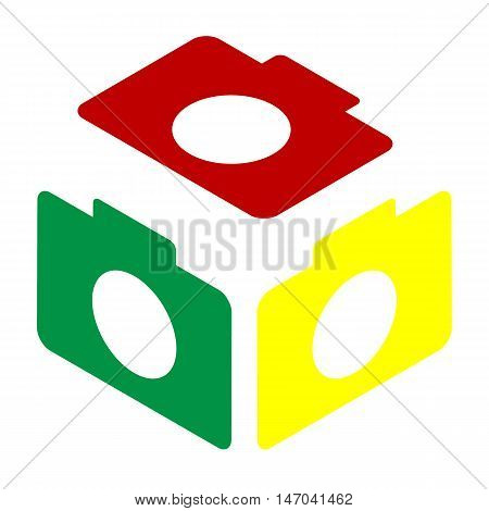 Digital Camera Sign. Isometric Style Of Red, Green And Yellow Icon.