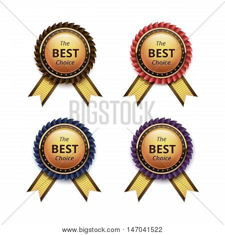 Vector Set of Top Quality Guarantee Golden labels with Colored Brown Red Blue Purple Violet Ribbons Close up Isolated on White Background