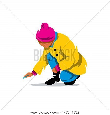 Child crouching preparing to paint. Isolated on a White Background