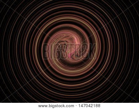 Abstract round green and pink circles fractal on black background