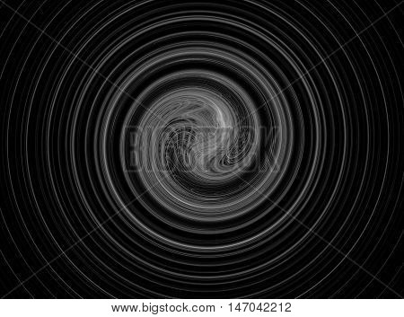 Abstract round grey circles fractal on black background