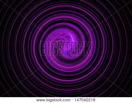 Abstract round purple bright circles fractal on black background