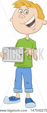Boy With Tablet Pc Cartoon