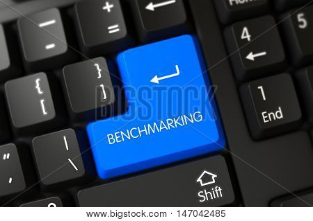 Benchmarking Concept: Computer Keyboard with Selected Focus on Blue Enter Button. 3D Render.