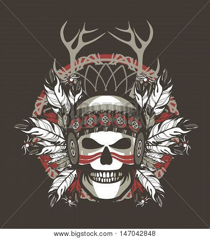 Stock Vector Indian skull chief badge on Black background