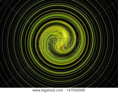 Abstract round green bright circles fractal on black background