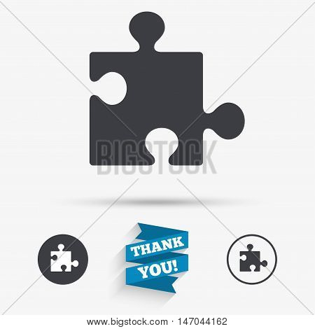 Puzzle piece sign icon. Strategy symbol. Flat icons. Buttons with icons. Thank you ribbon. Vector