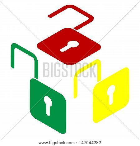 Unlock Sign Illustration. Isometric Style Of Red, Green And Yellow Icon.