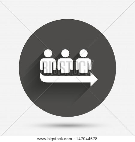 Queue sign icon. Long turn symbol. Circle flat button with shadow. Vector