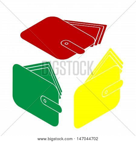 Wallet Sign Illustration. Isometric Style Of Red, Green And Yellow Icon.