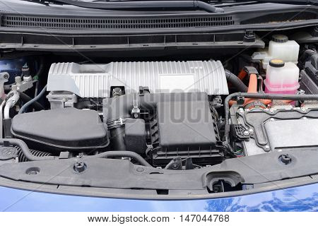 view of the car engine close up