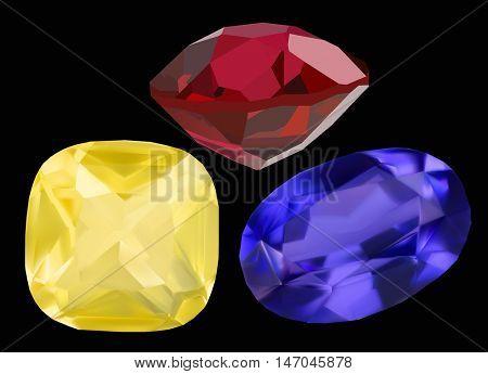 illustration with gems isolated on black background