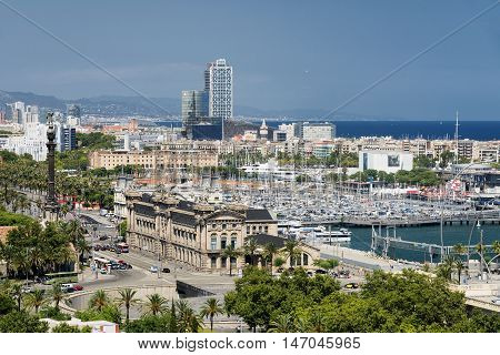 Barcelona (Catalunya Spain): panoramic view from the hill of Montjuic (Montjuich) of the Mediterranean Sea and the port