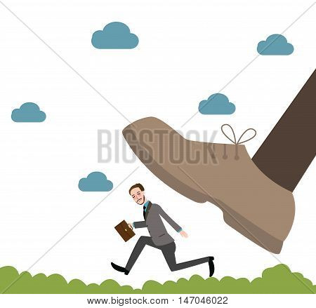 running from giant unfair competition business big vs small vector