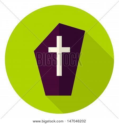 Gravestone Circle Icon. Flat Design Vector Illustration with Long Shadow. Happy Halloween Symbol.