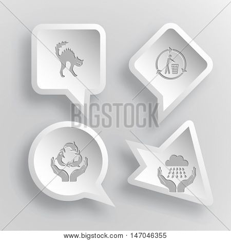 4 images: cat, recycling bin, protection sea life, weather in hands. Nature set. Paper stickers. Vector illustration icons.