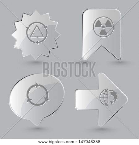 4 images: recycle symbol, radiation symbol, globe and shamoo. Ecology set. Glass buttons on gray background. Vector icons.