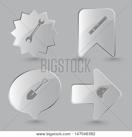 4 images: spanner, spirit level, spade, hard hat. Industrial tools set. Glass buttons on gray background. Vector icons.