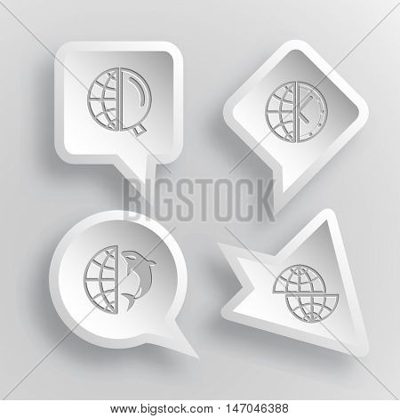4 images: globe and magnifying glass, and clock,  and shamoo, shift globe. Globe set. Paper stickers. Vector illustration icons.