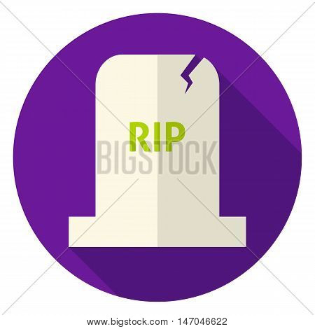 RIP Tombstone Circle Icon. Flat Design Vector Illustration with Long Shadow. Scary Halloween Symbol.