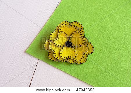 Handmade yellow felt flower sewing kit - how to make a flower out of felt tutorial