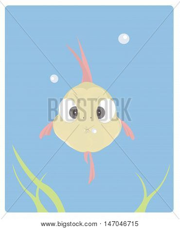 Vector illustration of a cute little fish with inflated cheeks .Front view. Flat style