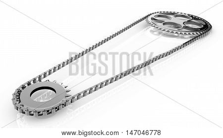 Bicycle chain close-up isolated on a white background. 3d rendering.