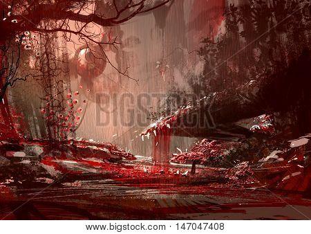 bloody land, horror landscape illustration, digital paintng