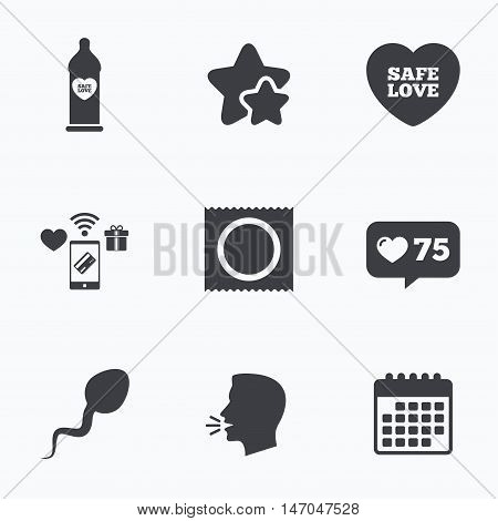 Safe sex love icons. Condom in package symbol. Sperm sign. Fertilization or insemination. Flat talking head, calendar icons. Stars, like counter icons. Vector