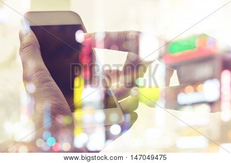 close up image of people using smart phone,communication technology concept