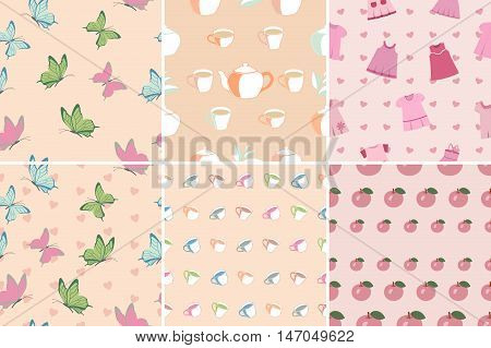 Set of seamless patterns and backgrounds in pink with butterflies cups apples baby dress. Pastel shades color of a tea rose. Vector illustration.