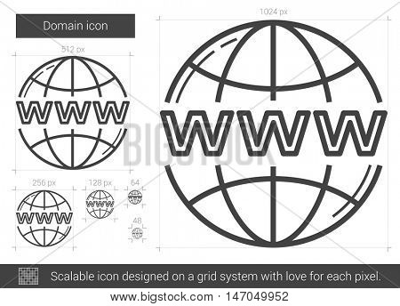Domain vector line icon isolated on white background. Domain line icon for infographic, website or app. Scalable icon designed on a grid system.