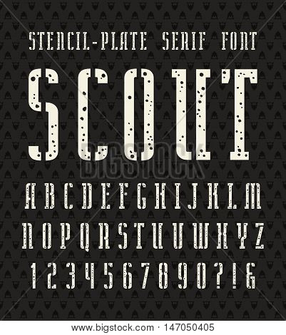 Narrow stencil-plate serif font with speckled texture. Bold face. White print on black background