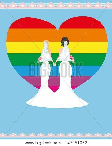 Same sex marriage woman couple poster card , vector illustration