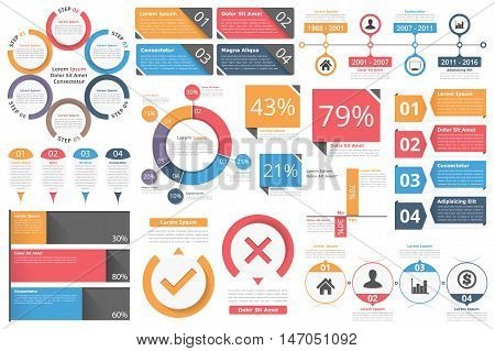 Infographic objects for presentation, reports, workflow - circle diagram, bar graph, pie chart, process diagram, timeline, objects with percents and text, business infographic elements, vector eps10 illustration