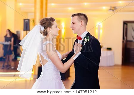 Newlyweds First Dance On Wedding Party.