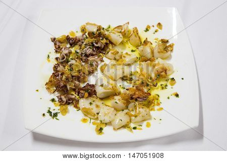 Grilled baby squids garnished with parsley and olive oil