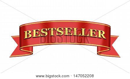 Red and gold promotional banner , Bestseller , 3d illustration