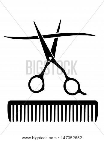 Comb And Scissors Cutting Strand Of Hair
