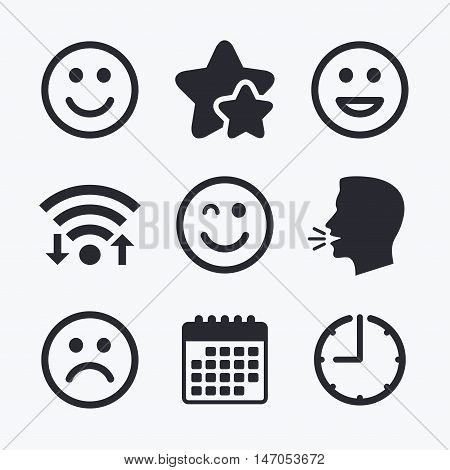 Smile icons. Happy, sad and wink faces symbol. Laughing lol smiley signs. Wifi internet, favorite stars, calendar and clock. Talking head. Vector
