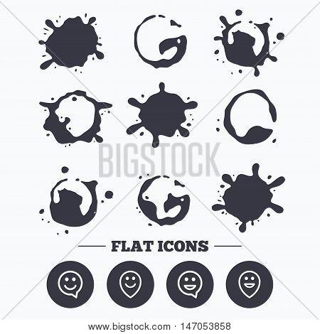 Paint, coffee or milk splash blots. Happy face speech bubble icons. Smile sign. Map pointer symbols. Smudges splashes drops. Vector