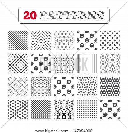 Ornament patterns, diagonal stripes and stars. Speech bubble smile face icons. Happy, sad, cry signs. Happy smiley chat symbol. Sadness depression and crying signs. Geometric textures. Vector