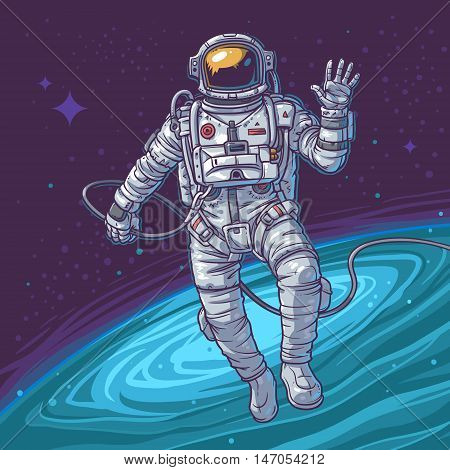 Vector illustration cosmonaut on the cosmic background. Astronaut waving hand